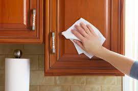 Be gentle when cleaning the kitchen Cabinets!